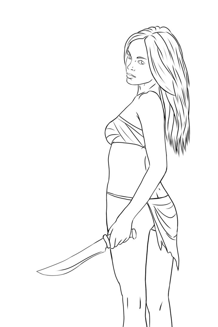 Survivor character lineart by WizzardOfSand