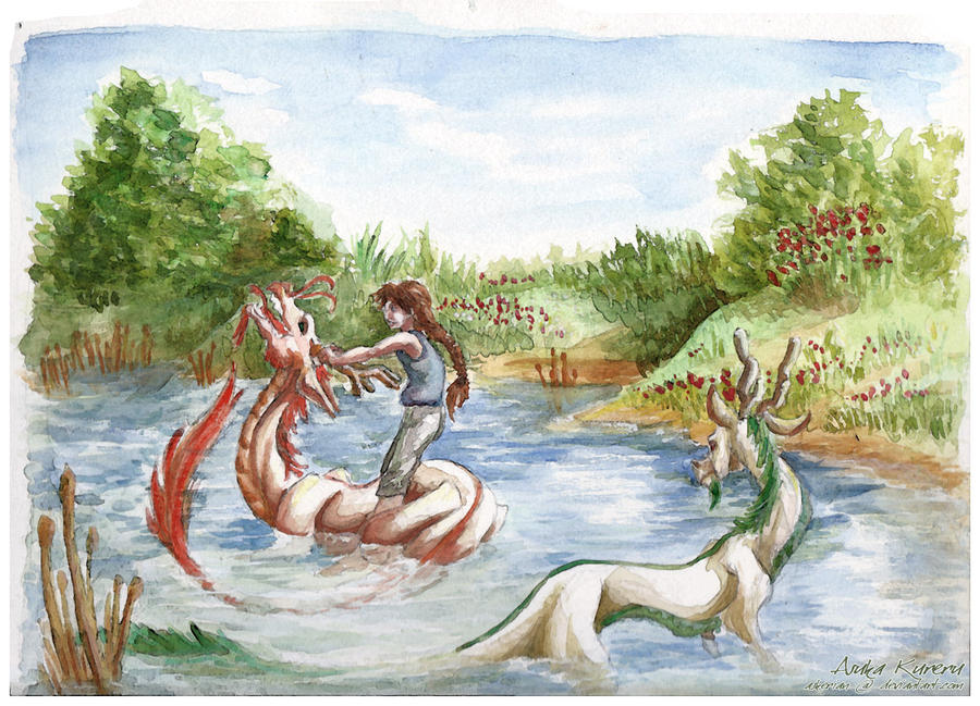 Watercolor Duo-Dragons by askerian