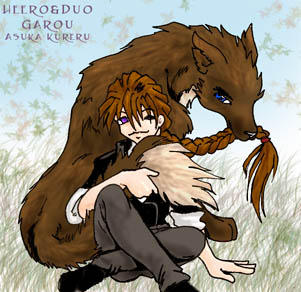 Duo and Heero-wolf from Garou by askerian