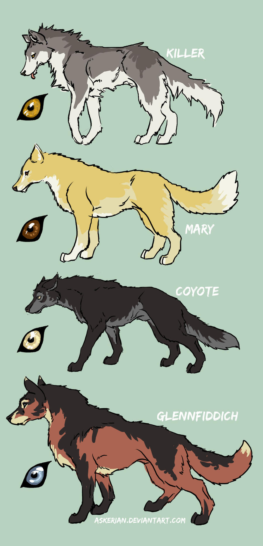 Four Wolfdogs by askerian