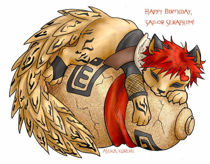 Chibi tanuki-Gaara for Sera by askerian
