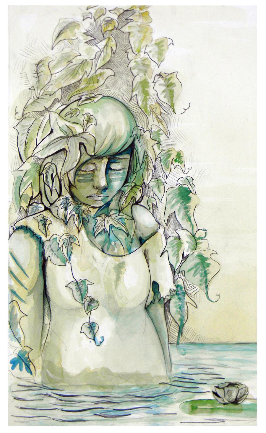 Watercolor Self Portrait by RockyRoni
