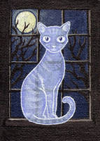 The Ghost Kitty - ACEO by jefita