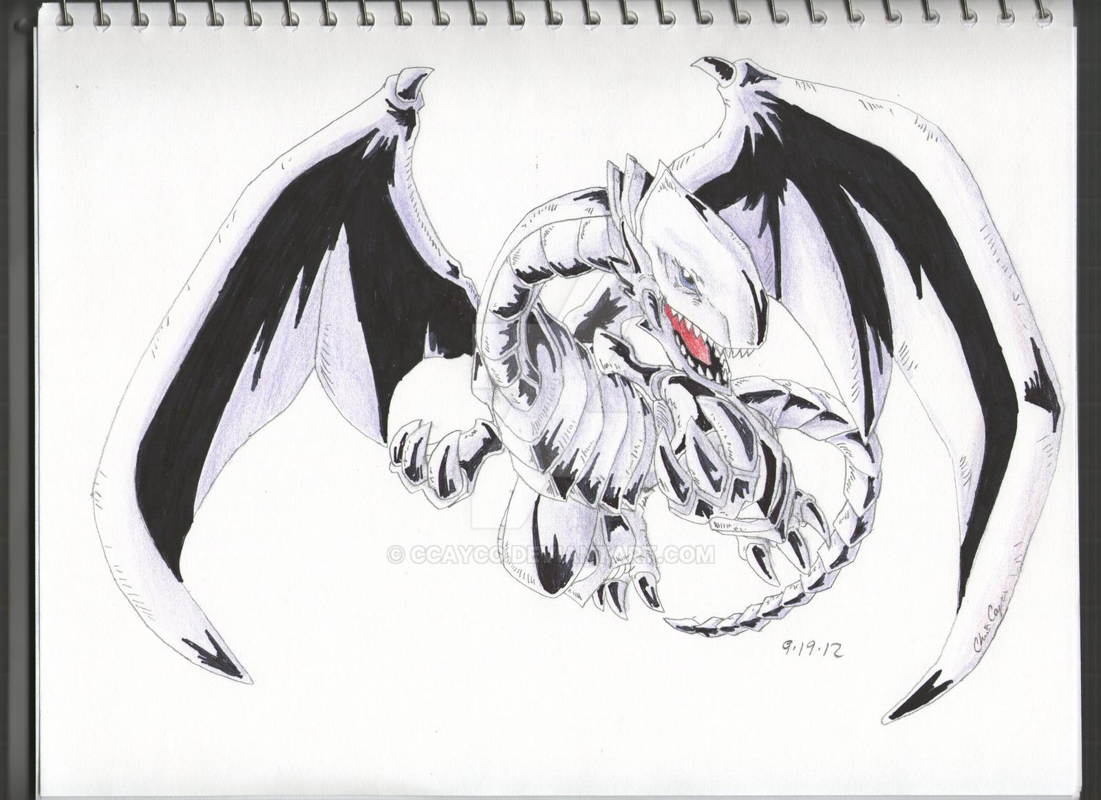 blue eyes white dragon yu gi oh by ccayco on deviantart