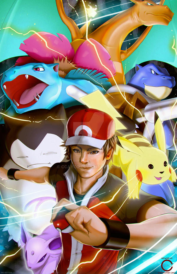 pokemon trainer red and team by ccayco on deviantart