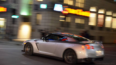 Nissan GT-R In Motion At Night