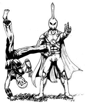 The Metal and Sporkman [line art]