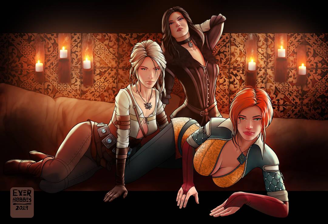Witcher Girls: Ciri, Triss, Yennefer by EverHobbes