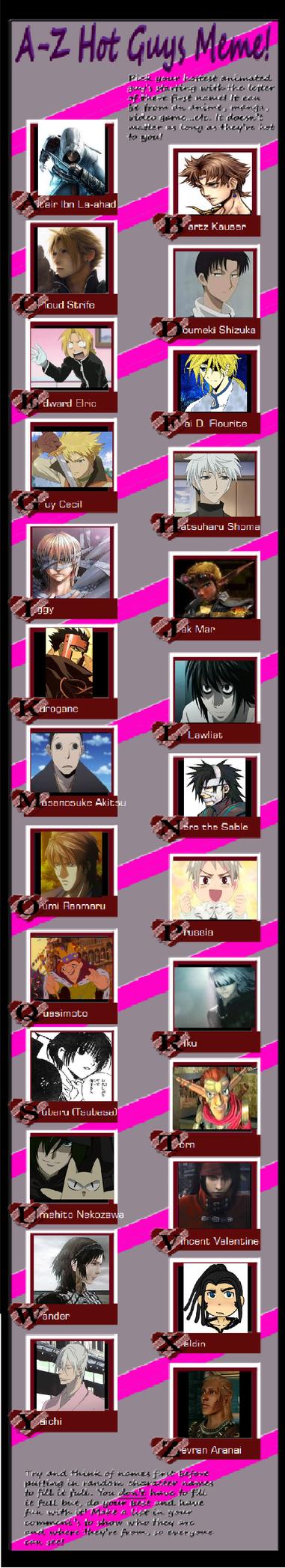 show your meme's  A_z_hot_anime_guys_meme_by_animefangirl921-d4kua49