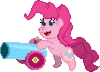 Pinkie with Party Cannon 16-bit Sprite by Happybunns