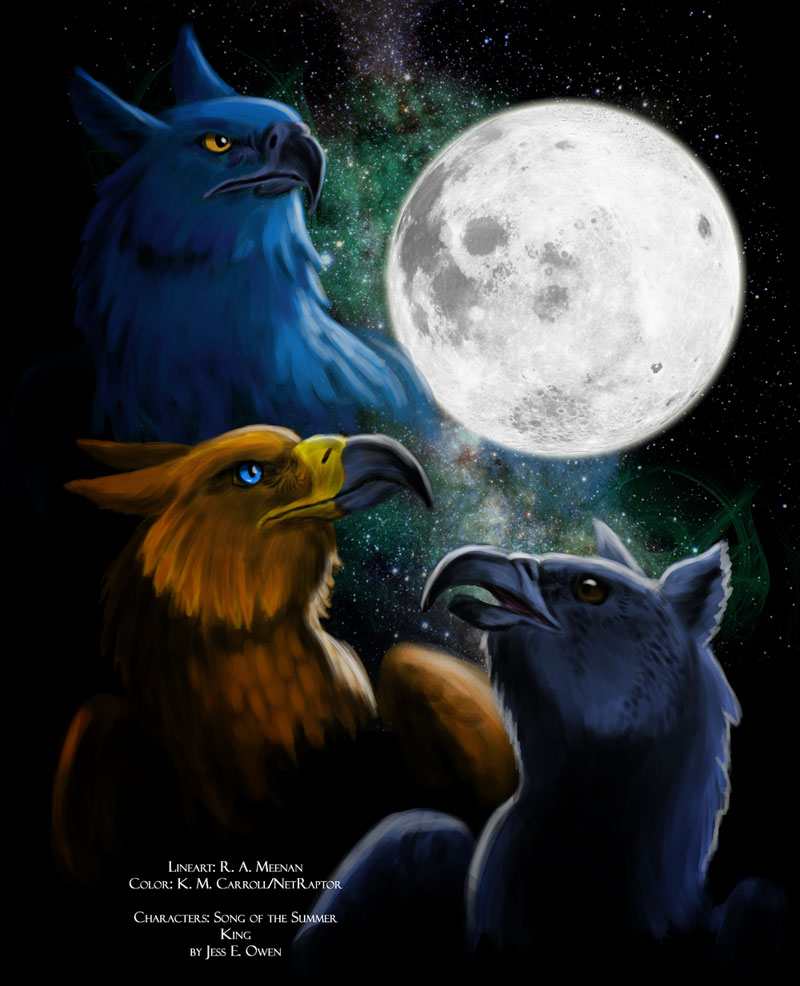 Collab: Three Gryfon Moon by NetRaptor