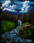 Bob Ross landscape with Allosaurus