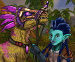 A troll and her raptor - WoW