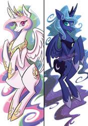 Princess Celestia and Luna Dakimakura by DragonBeak