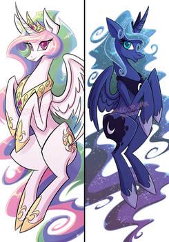 Princess Celestia and Luna Dakimakura