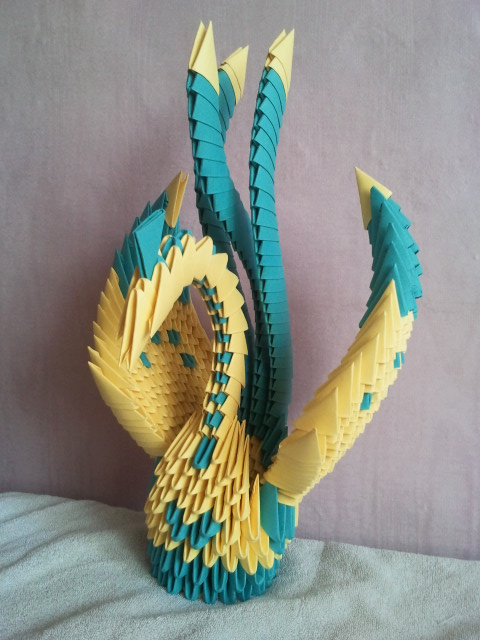 Origami bird 3d by kamui487 on deviantart for How to make a 3d bird sculpture