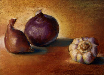 onion garlic still life