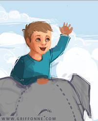 Sketch of Liam Riding a Magical Elephant
