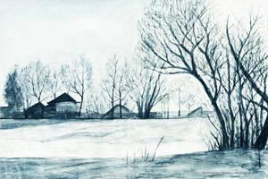 Winter village by Swaroop
