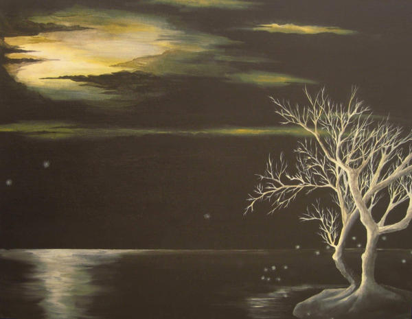 Tree at night in moonlight by earth-tone