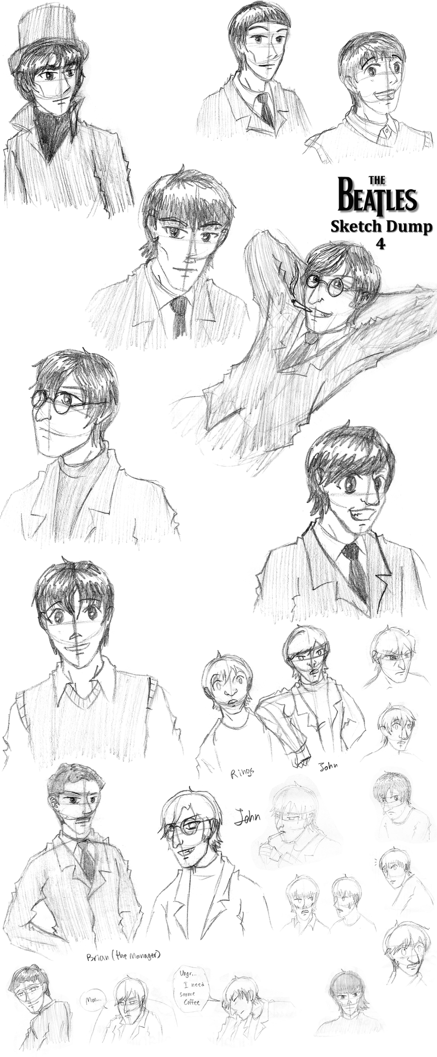 Sketch Dump -- Beatles - 4 by VampiricYoshi