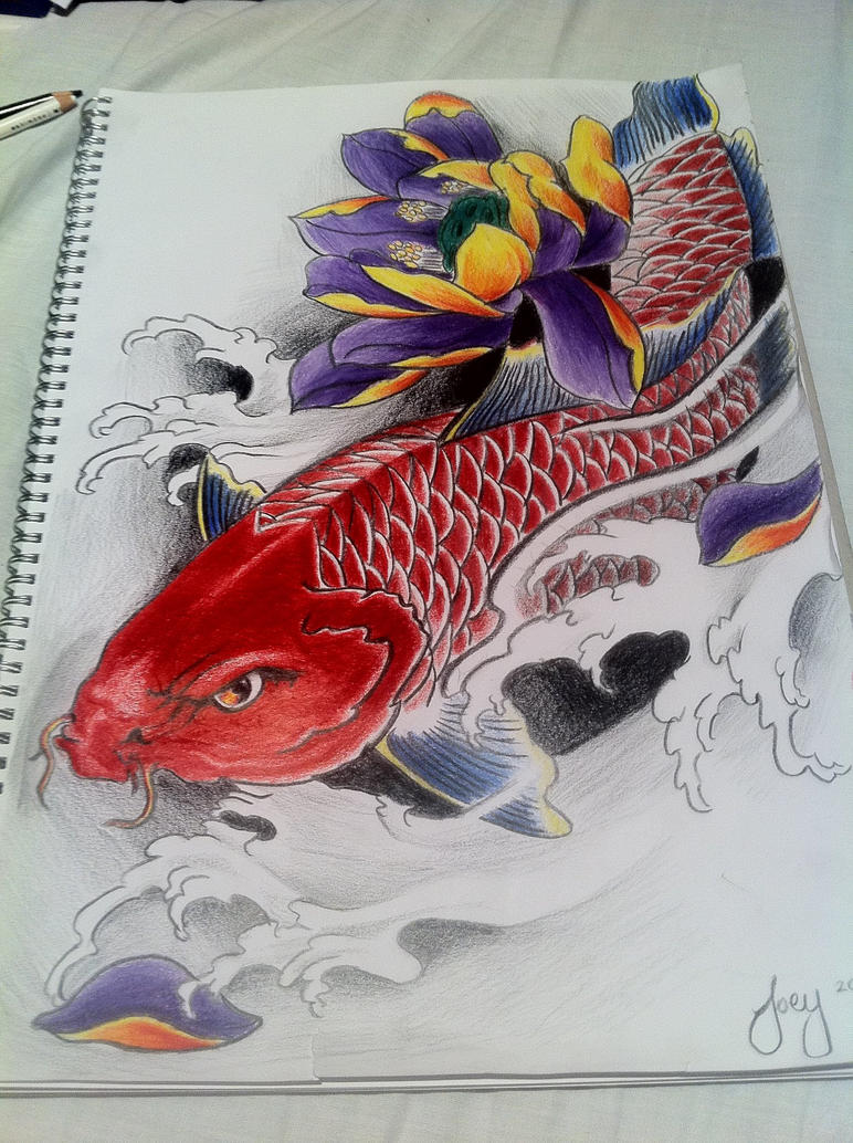 Red koi fish with lotus by j0oey on deviantart for Red koi fish