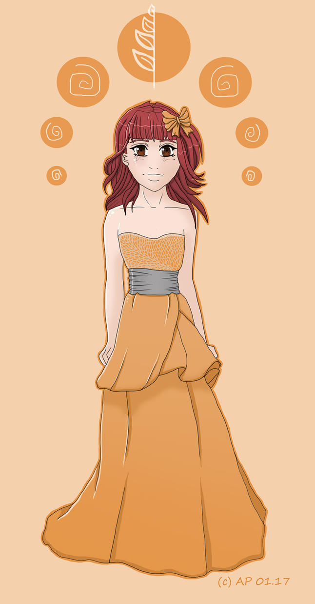 Wedding dress orange by Miracoin