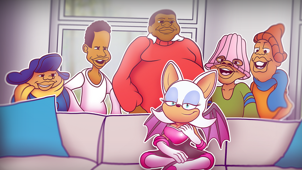 Rouge the bat and the gang chilling on the couch