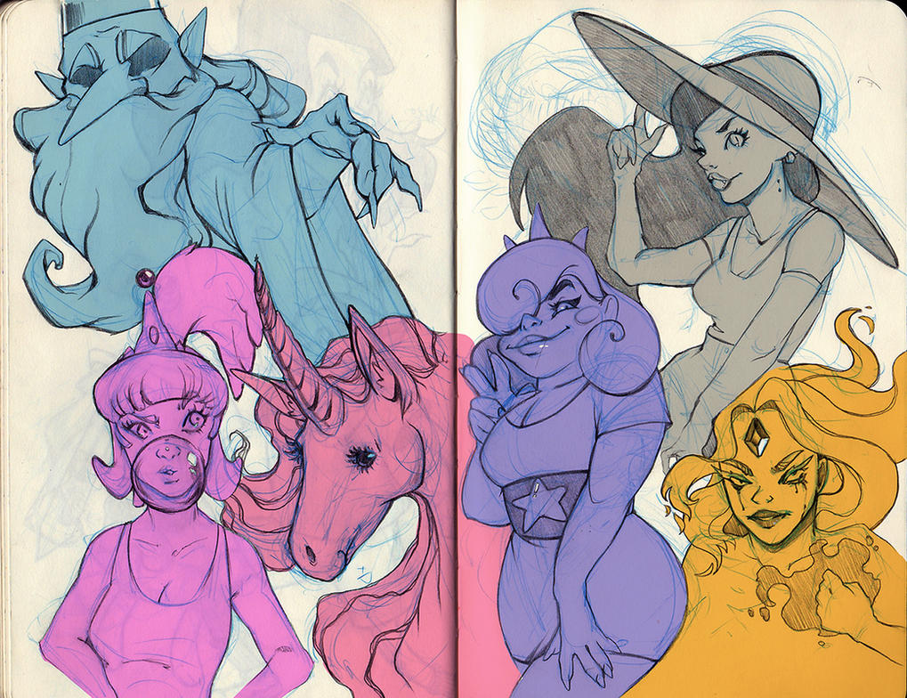 Adventure Time sketches II by adivinadora