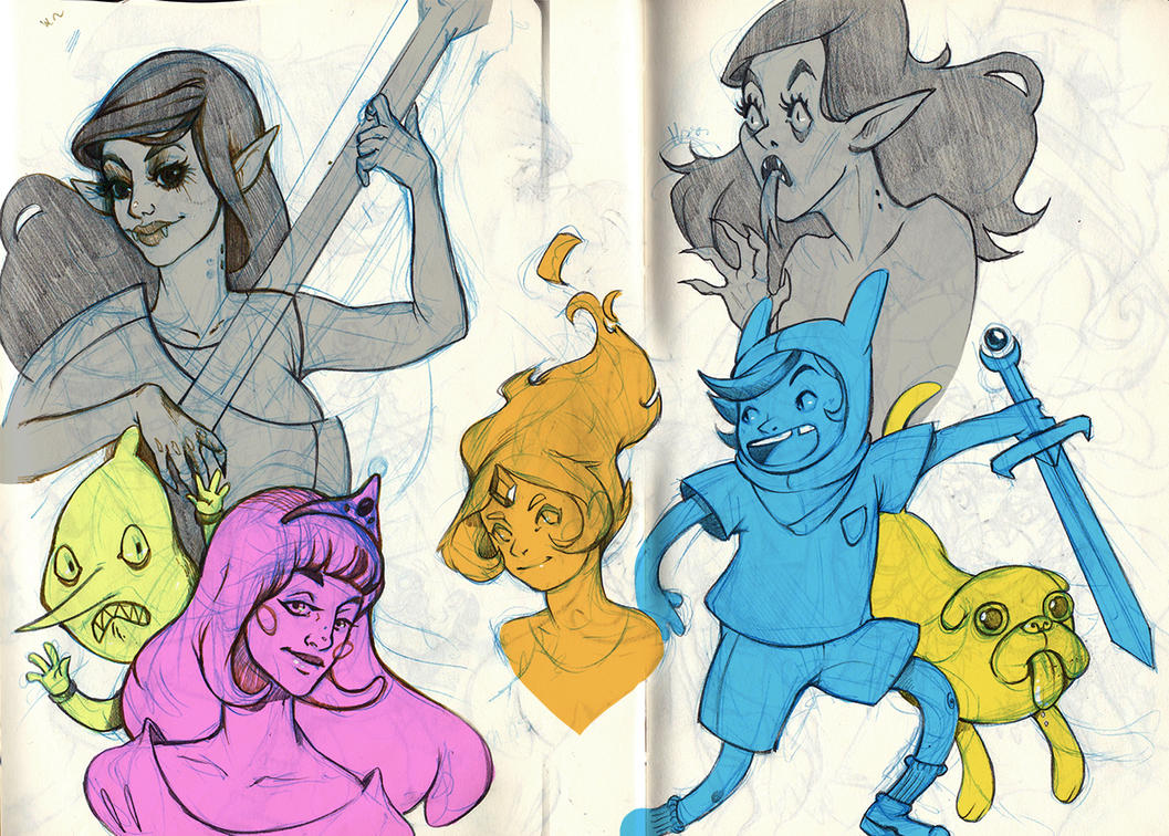 Adventure Time sketches I by adivinadora