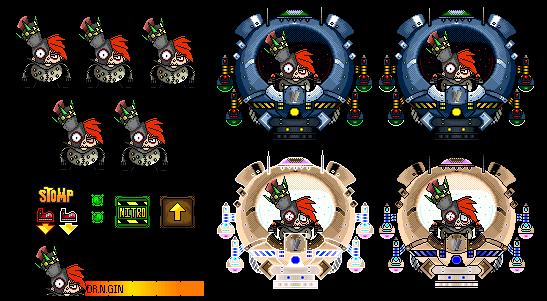 Crash Bandicoot - Dr. N.Gin Custom Boss Sprites by FierceTheBandit