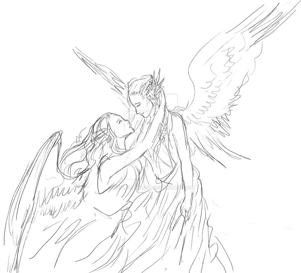 Angels Sketch by izzyleidlwilson