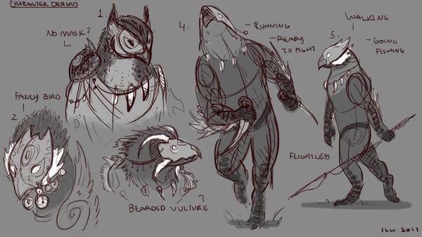 Character Design Thumbnails - Bird by izzyleidlwilson