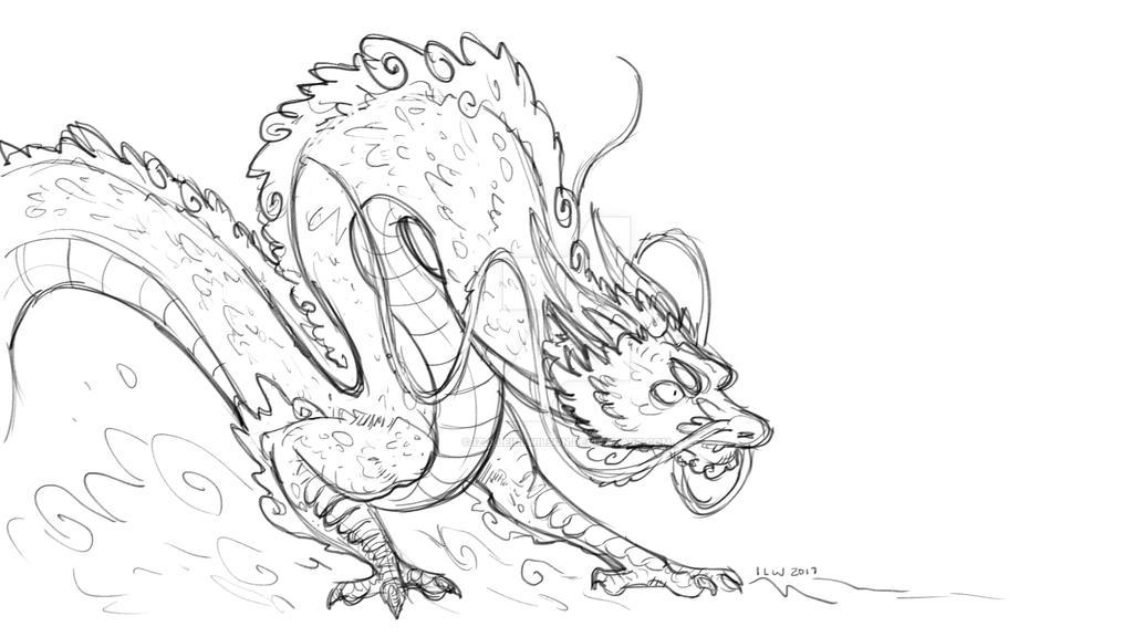Eastern Dragon Sketch by izzyleidlwilson