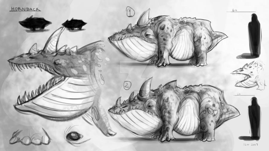 Creature Concept - Hornback by izzyleidlwilson
