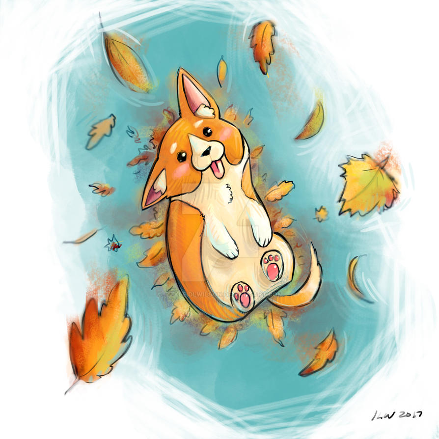 Corgi Loves Autumn by izzyleidlwilson
