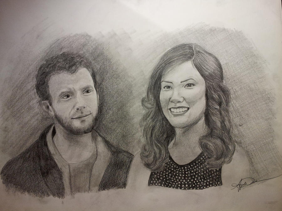 Hodgins and Angela, Tj Thyne and Michaela Conlin by InspiredByYouArt