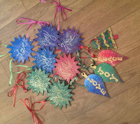 Peace, Joy, Hope, Love Christmas ornaments