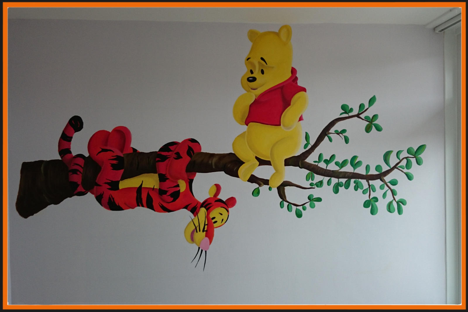 winnie the pooh and tiger wall mural by pikeo on deviantart. Black Bedroom Furniture Sets. Home Design Ideas