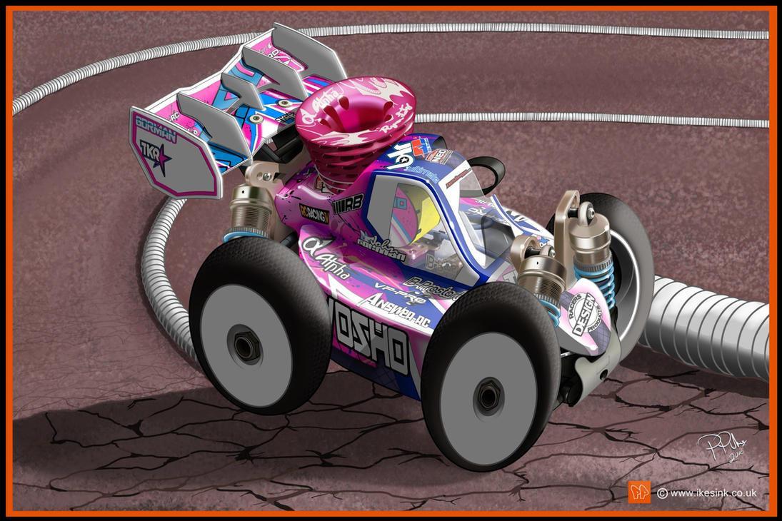 RC Cartoon of Kyosho MP9 nitro buggy by PIKEO