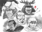 Sketchbook - Samurai Heads