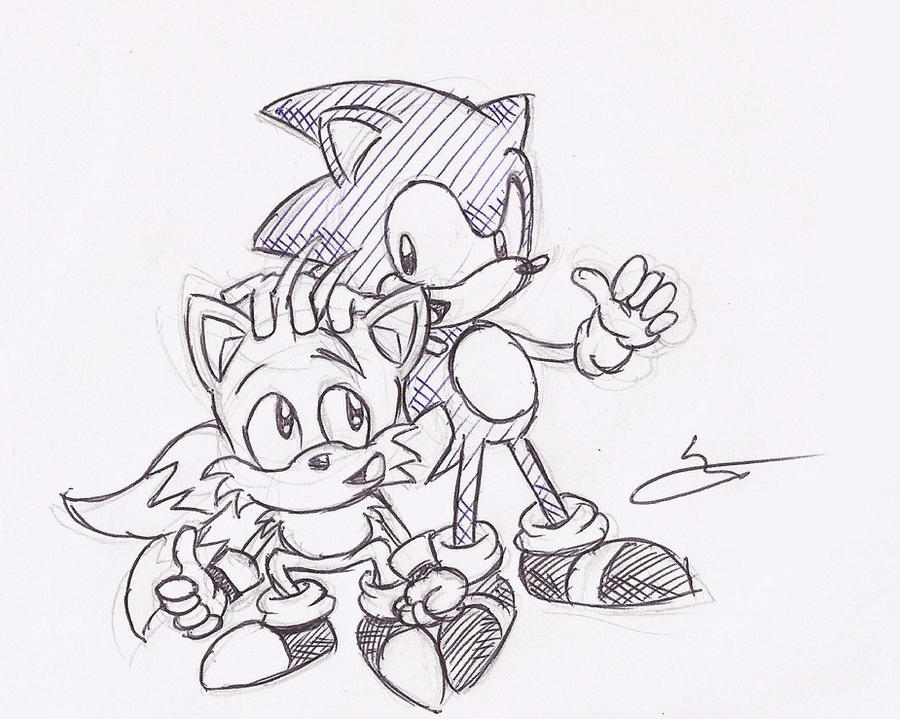 sonic and tails sketch by sonicman88