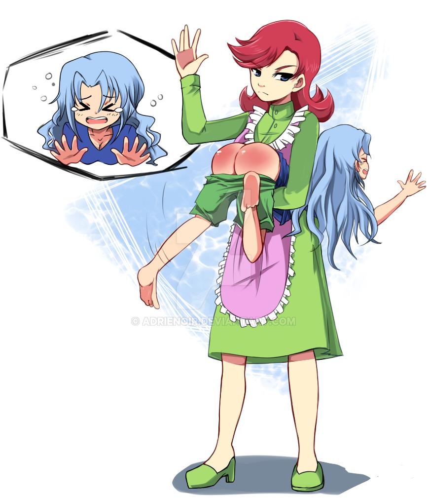 Anime girl spanking