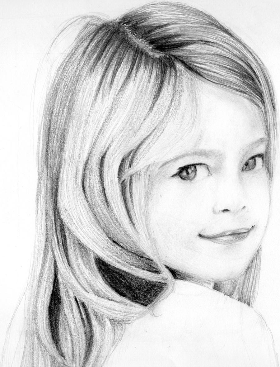Portrait pencil drawing of a young girl by neeshmaSimple Drawings Of Faces