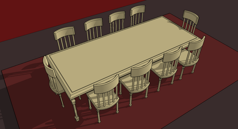Dining table sketchup dining table chairs for Table design sketchup
