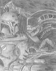 Aliens VS Boba Fett by EmeraldTokyo