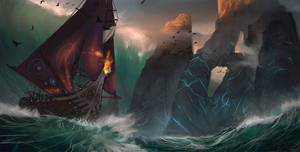 Viking Ship in Stormy Seas
