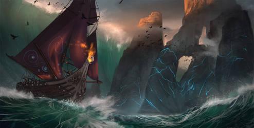 Viking Ship in Stormy Seas