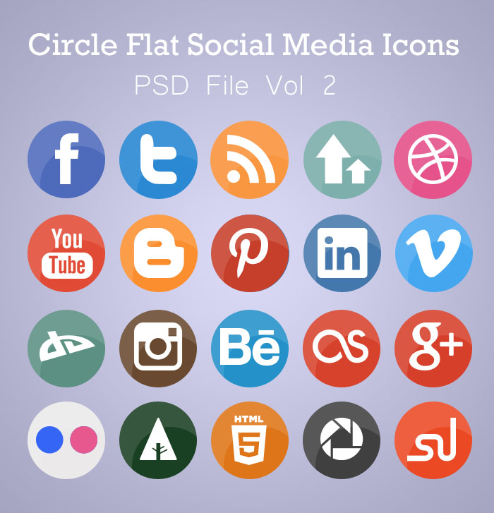 Free Flat Circle Social Media Icons (PSD) by AinsleyB
