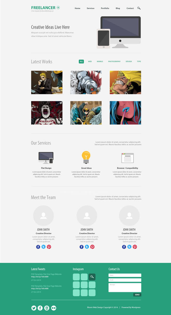 Free Psd Minimalist One Page Website Template By Ainsleyb